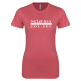 Next Level Ladies SoftStyle Junior Fitted Pink Tee-McLennan Community College
