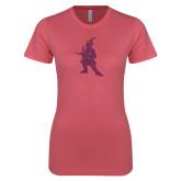 Next Level Ladies SoftStyle Junior Fitted Pink Tee-Highlander Pink Glitter