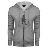 ENZA Ladies Grey Fleece Full Zip Hoodie-Highlander Graphite Soft Glitter