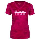 Ladies Pink Raspberry Camohex Performance Tee-McLennan Community College
