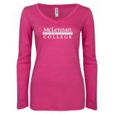 ENZA Ladies Hot Pink Long Sleeve V Neck Tee-McLennan Community College