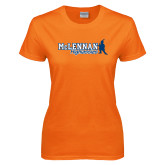 Ladies Orange T Shirt-McLennan Highlassies