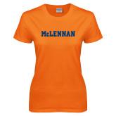 Ladies Orange T Shirt-McLennan Solid
