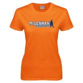 Ladies Orange T Shirt-McLennan Highlanders Distressed