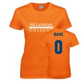 Ladies Orange T Shirt-McLennan Community College, Custom Tee w/ Name and #