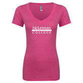 Next Level Ladies Junior Fit Ideal V Pink Tee-McLennan Community College