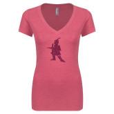 Next Level Ladies Vintage Pink Tri Blend V-Neck Tee-Highlander Hot Pink Glitter