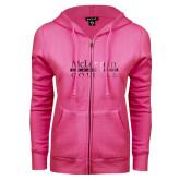 ENZA Ladies Fuchsia Fleece Full Zip Hoodie-McLennan Community College Foil