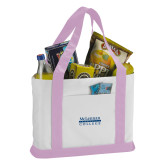 Contender White/Pink Canvas Tote-McLennan Community College