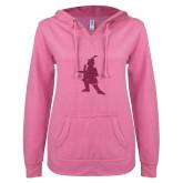 ENZA Ladies Hot Pink V Notch Raw Edge Fleece Hoodie-Highlander Hot Pink Glitter