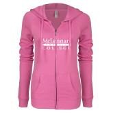 ENZA Ladies Hot Pink Light Weight Fleece Full Zip Hoodie-McLennan Community College