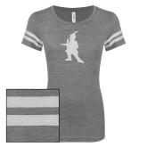 ENZA Ladies Dark Heather/White Vintage Triblend Football Tee-Highlander White Soft Glitter