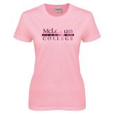 Ladies Pink T Shirt-McLennan Community College Foil