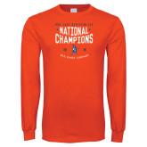 Orange Long Sleeve T Shirt-2018 NDA Jazz National Champions