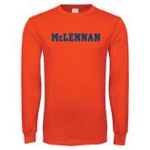 Orange Long Sleeve T Shirt-McLennan Solid