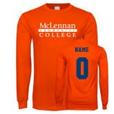 Orange Long Sleeve T Shirt-McLennan Community College, Custom Tee w/ Name and #