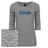 Ladies Grey Heather Tri Blend Lace 3/4 Sleeve Tee-McLennan Community College