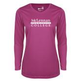 Ladies Syntrel Performance Raspberry Longsleeve Shirt-McLennan Community College