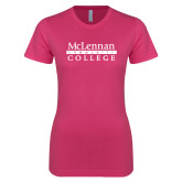 Ladies SoftStyle Junior Fitted Fuchsia Tee-McLennan Community College