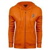 ENZA Ladies Orange Fleece Full Zip Hoodie-Highlander