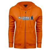 ENZA Ladies Orange Fleece Full Zip Hoodie-McLennan Highlanders