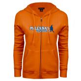ENZA Ladies Orange Fleece Full Zip Hoodie-McLennan Highlassies