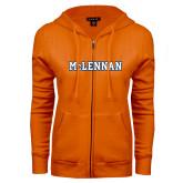 ENZA Ladies Orange Fleece Full Zip Hoodie-McLennan