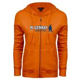 ENZA Ladies Orange Fleece Full Zip Hoodie-Basketball