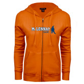ENZA Ladies Orange Fleece Full Zip Hoodie-Dance