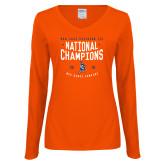 Ladies Orange Long Sleeve V Neck Tee-2018 NDA Jazz National Champions