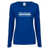 Ladies Royal Long Sleeve V Neck Tee-McLennan Community College