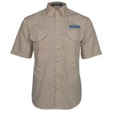 Khaki Short Sleeve Performance Fishing Shirt-McLennan Community College