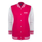 Ladies Pink Raspberry/White Fleece Letterman Jacket-McLennan Community College