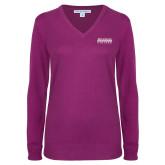 Ladies Deep Berry V Neck Sweater-McLennan Community College