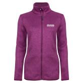 Dark Pink Heather Ladies Fleece Jacket-McLennan Community College