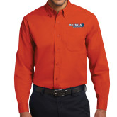 Orange Twill Button Down Long Sleeve-McLennan Highlanders