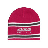 Pink/Charcoal/White Striped Knit Beanie-McLennan Community College