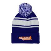 Royal/White Two Tone Knit Pom Beanie w/Cuff-McLennan Highlassies