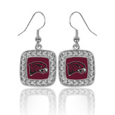 Crystal Studded Square Pendant Silver Dangle Earrings-Hawk Head