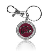Crystal Studded Round Key Chain-Hawk Head