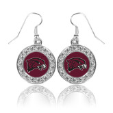 Crystal Studded Round Pendant Silver Dangle Earrings-Hawk Head