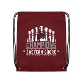 Maroon Drawstring Backpack-2017 MEAC Bowling Champions Pins