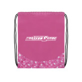 Nylon Pink Bubble Patterned Drawstring Backpack-Primary Mark