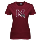 Ladies Maroon T Shirt-M w/ Hawk