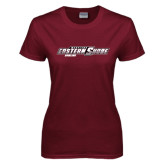 Ladies Maroon T Shirt-Bowling