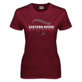 Ladies Maroon T Shirt-Baseball Seams Stacked Design