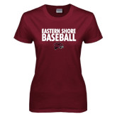 Ladies Maroon T Shirt-Baseball Stacked