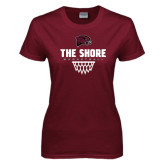 Ladies Maroon T Shirt-Basketball Net Design