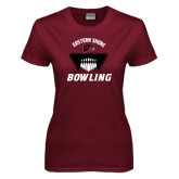 Ladies Maroon T Shirt-Bowling Pins Design