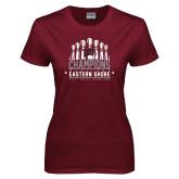 Ladies Maroon T Shirt-2017 MEAC Bowling Champions Pins